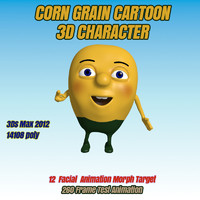 3d modeled corn grain character animation