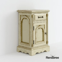 3d old victorian bedside cupboard model