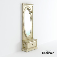 old cupboard battered mirror 3d model