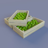 free juicy green apples 3d model