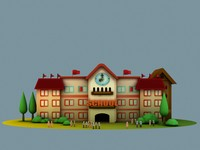 3d model cartoon school