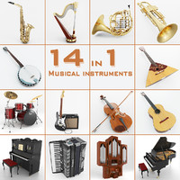 musical instruments 14 3d obj