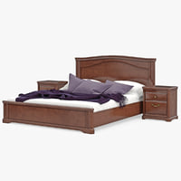 3d max furniture wooden classic bed