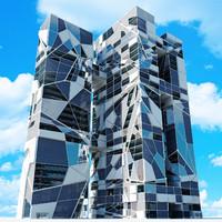 3dsmax modern futuristic skyscraper
