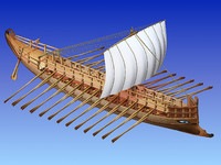 3d greek ancient ship bireme