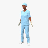 3d female surgeon african american model
