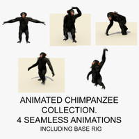 3ds max rigged chimpanzee animations chimp