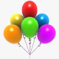 3ds max colored balloons party