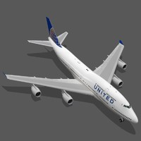 boeing 747-400 united airlines 3d obj