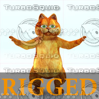 3d - cartoon cat rigged character model