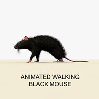 3d black mouse animations model