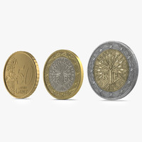 3d model french euro coins