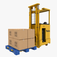 3d model rider stacker yellow pallet