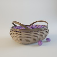 free ripe plums weaving basket 3d model