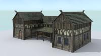 3d model stable medieval village