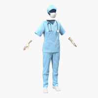 3d female surgeon dress 10 model