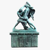 fighting warriors statue 3d model