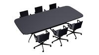 negotiation table chairs 3d max