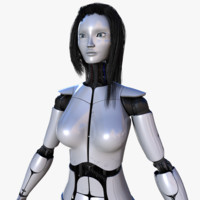 3d female robot pro rigged model