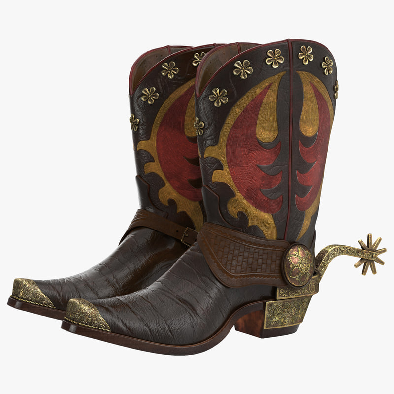 Western Boots with Spurs 3d model 00.jpg