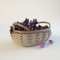 ripe grapes weaving basket 3d model