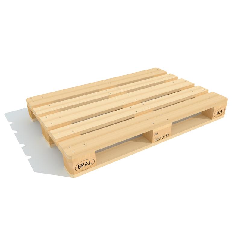 3d model of wooden euro pallet. Black Bedroom Furniture Sets. Home Design Ideas