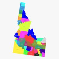 idaho counties 3d model