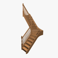 3d model staircase wood pine