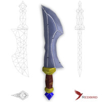 hand painted dagger 3d model