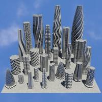 3d futuristic buildings pack 01 model