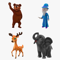 3d cartoon rigged characters