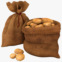 3d modeled sack potatoes model