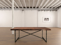 rail wood dining table 3d model