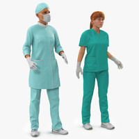 3d model female rigged doctors