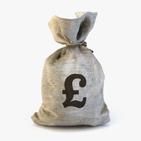 3d max money bag pound