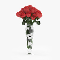 c4d bouquet red roses glass vase