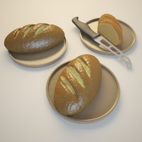 free french bread 3d model