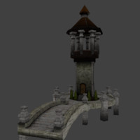 3d medieval bridge tower model
