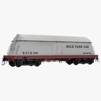 milk tank car 3d model