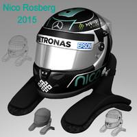 nico rosberg helmet 2015 3d model