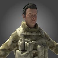 3d model desert soldier