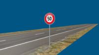 3d model road sign
