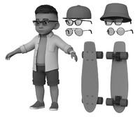 3d model cute skater boy