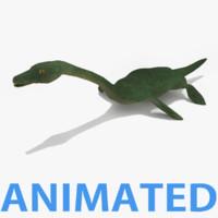 3d model plesiosaurus rigged dinosaurs