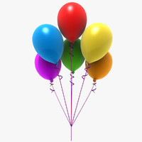 3d model colored balloons party
