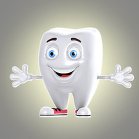 cool cartoon tooth 3d obj