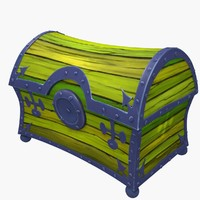 wooden treasure chest 3d obj