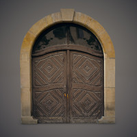 old wooden door 3d obj