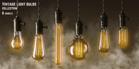3d vintage light bulbs