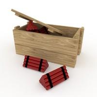 dynamites wooden box 3d model